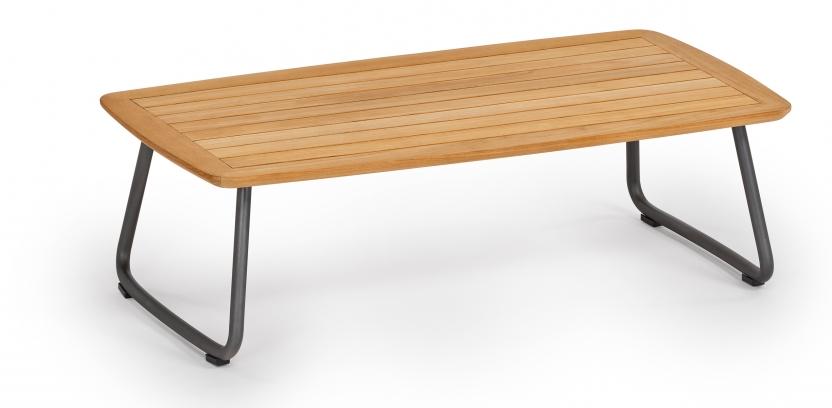 Denia Beistelltisch 115x55 cm grau-metallic Teak