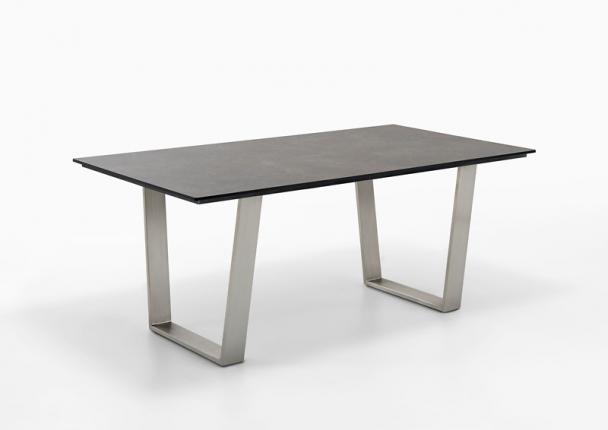 Tisch Saint TropezTischplatte HPL Beton, Gestell Trapezkufe Edelstahl gebürstet