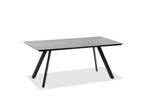 Tisch Sain Tropez Tischplatte HPL Zement, Gestell Stativprofil Aluminium pulverbeschichtet, Farbton