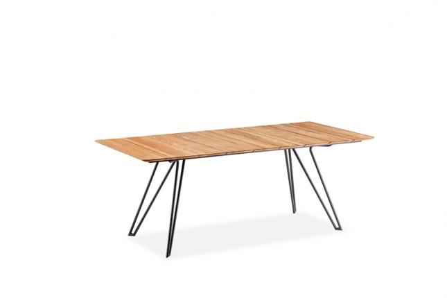 Tisch Melbourne Tischplatte Teak gebürstet mit Facette