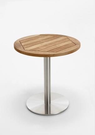 Café Tisch, Tischplatte Teak recycelt, 95 / 77cm